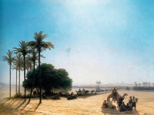 IVANKONSTANTINOVIC.KARAVANVOAZISE.EGIPET.1871.75K92SM.KOLSTMASLO.ROMANTIZMREALIZM.ROSSIY.NY-IORK.SOBRANIEA.SAGINYNA.jpg